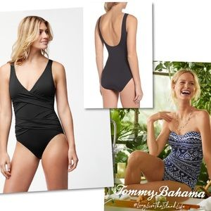NEW TOMMY BAHAMA PEARL WRAP FRONT 1 PIECE SWIMSUIT